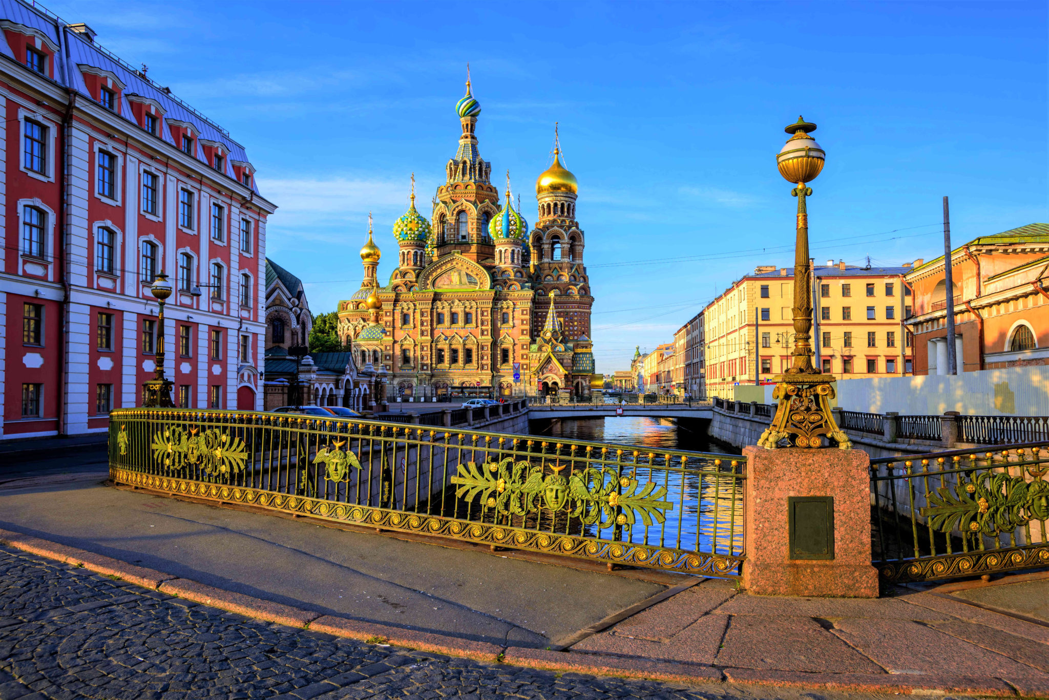 The Church of the Savior on Spilled Blood on Griboyedov canal in the early morning light