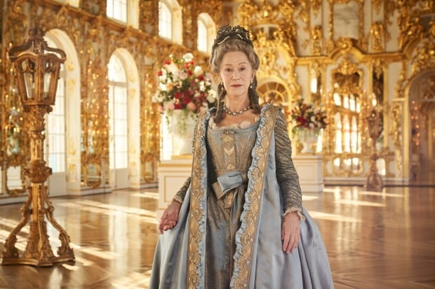 Helen Mirren at the center of the ball party room at the Catherine's Palace