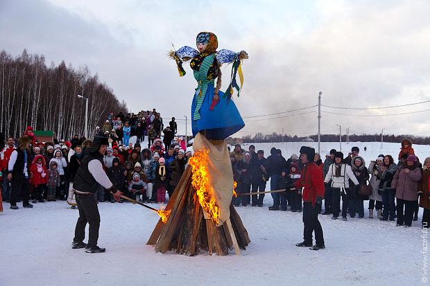 Burning a straw figure symbolizing winter