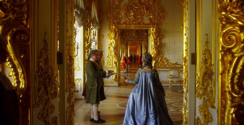 Catherine the Great walking through the Golden Gallery of the Catherine's Palace