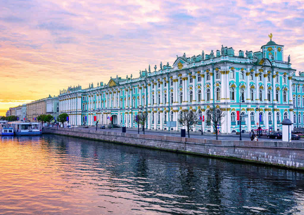 Hermitage Museum from the palace bridge on the Neva River