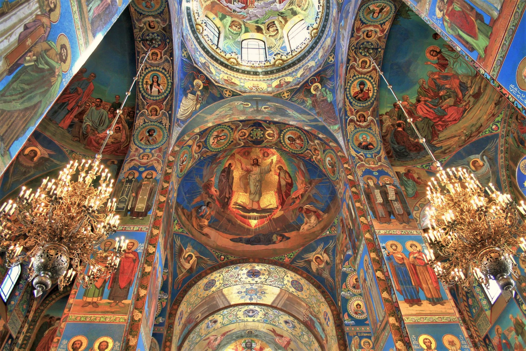 Interior of the church on the Spilled Blood in St. Petersburg