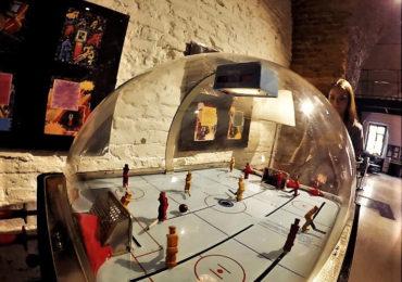 Table hockey in soviet arcade museum